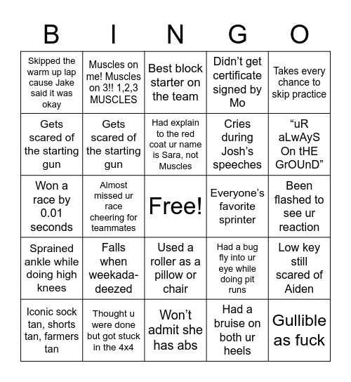 Sprints Bingo: Muscles Version Bingo Card