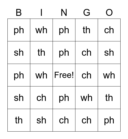 Digraphs Bingo Card