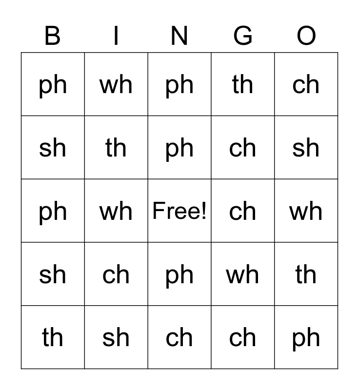 Digraphs Bingo Card