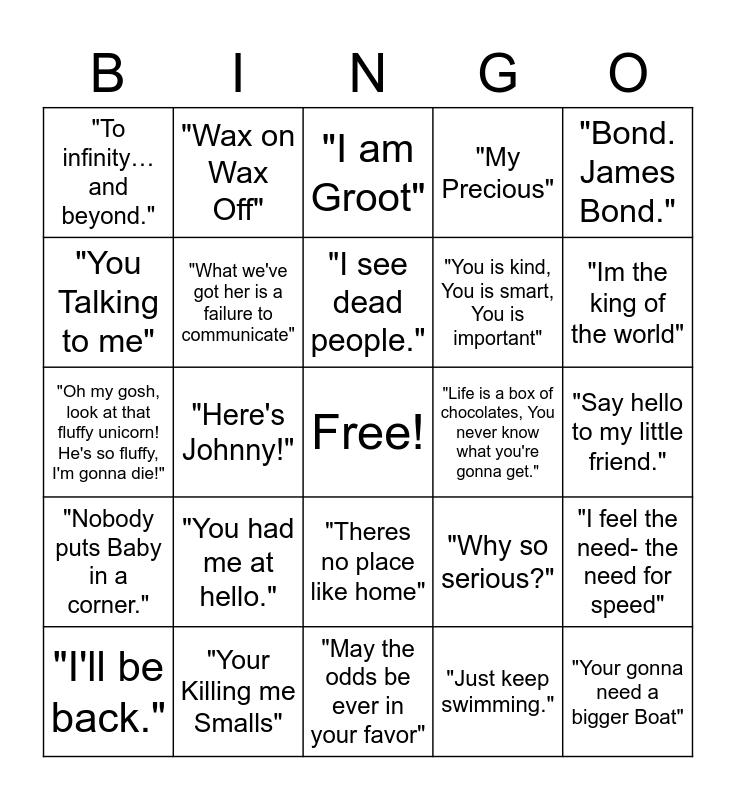 FAMOUS MOVIE QUOTES Bingo Card