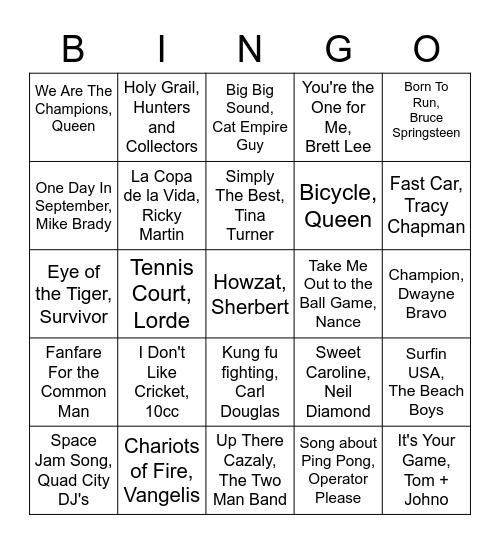 7 Sport Musical Bingo! Bingo Card