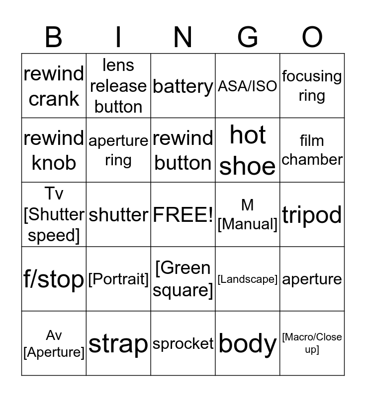CAMERA Bingo Card