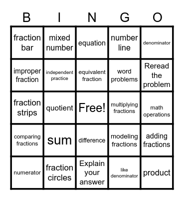 Multiplying Fractions 5/6/20 Bingo Card