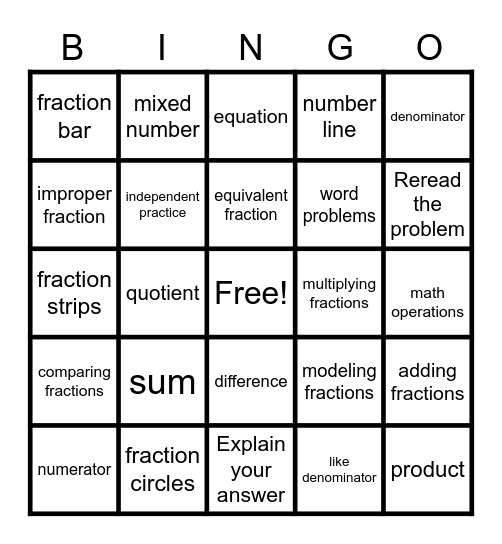 Multiplying Fractions 5/6/20 Bingo Card