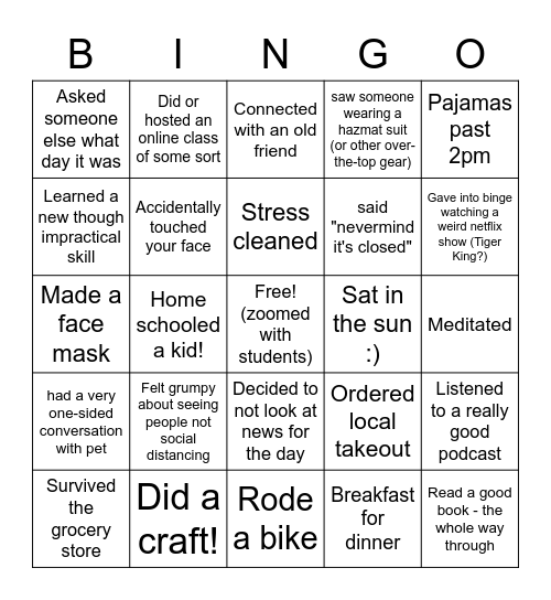 Sequoia Fam Quarantine Bingo! Bingo Card