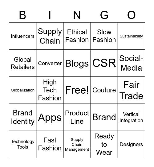 IFB Unit #1 -  The Business of Fashion Bingo Card