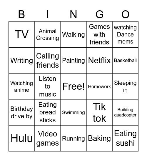 Swim Bingo Card