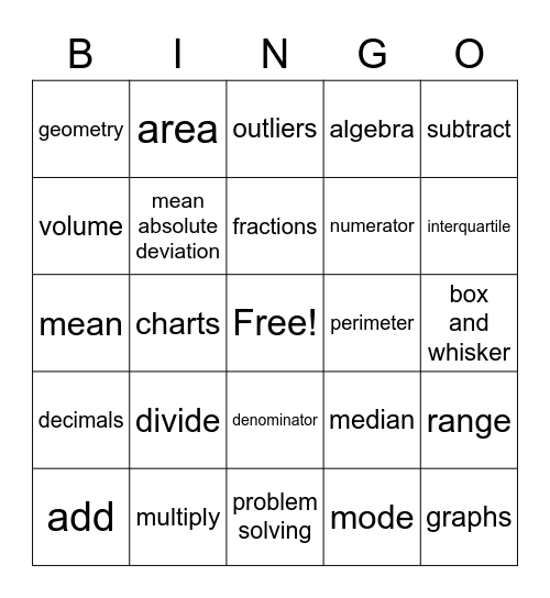 Math Lingo Bingo Card