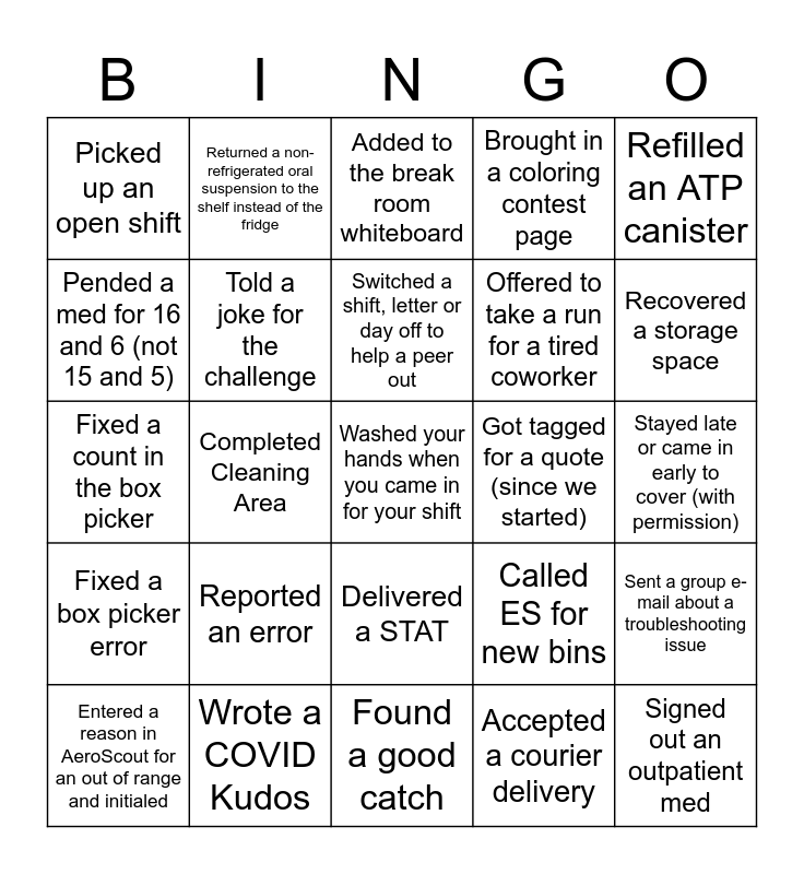 Pharmacy Bingo (Tech & Intern Edition) Bingo Card