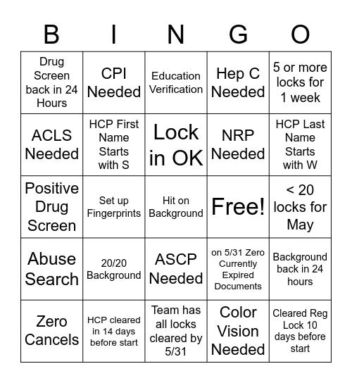 OA Bingo Card