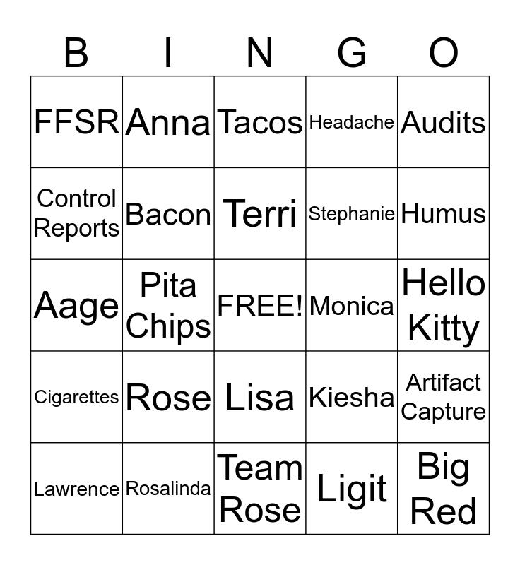Team Rose  Bingo Card