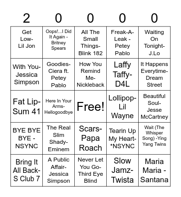 2000s Music Bingo Card
