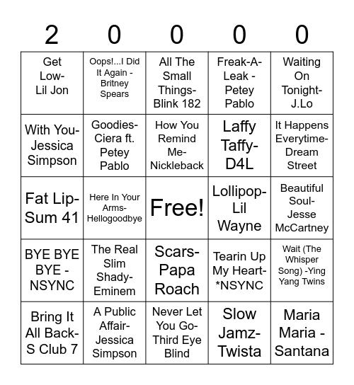 2000s Music Bingo Card