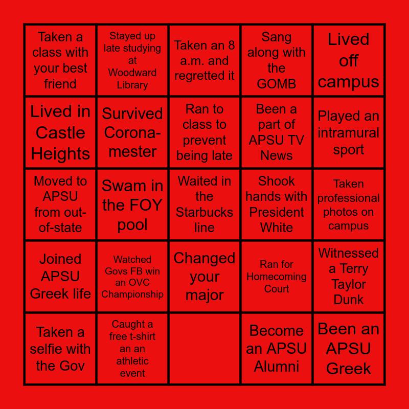 Govs Bingo Card
