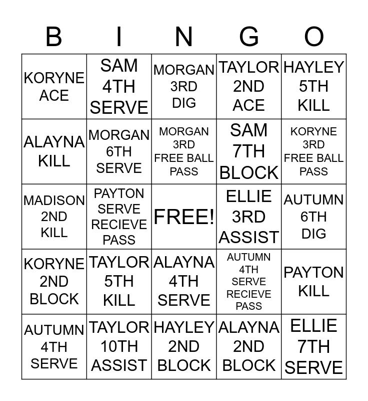 PELOTONIA VOLLEYBALL Bingo Card