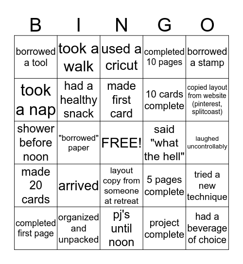 """What The Hell"" Retreat Bingo Card"