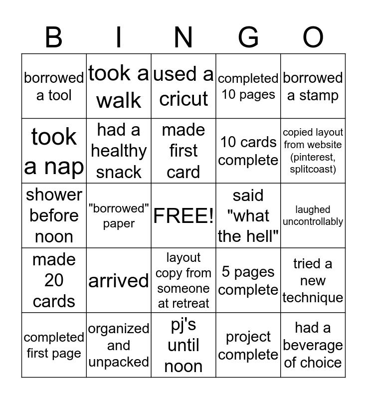 """What The Hell"" Retreat Bingo Card"