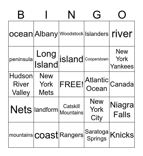 New York State Bingo Card