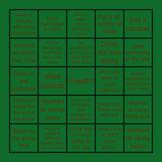 Camp Arnold Bingo Card
