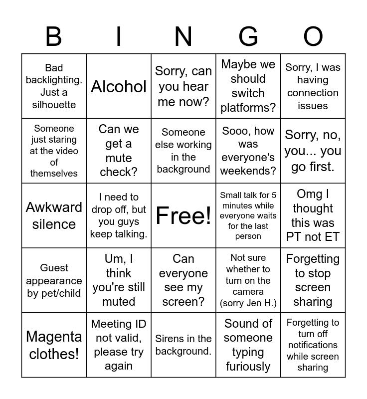 Video Team Builder Bingo Card