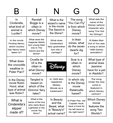 DISNEY TRIVIA BINGO Card