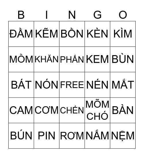 BÀI ÔN 1- 3 DANH TỪ 1 OF 2 Bingo Card