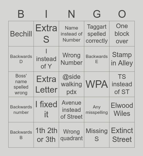 Portland Sidewalk Stamp Bingo Card