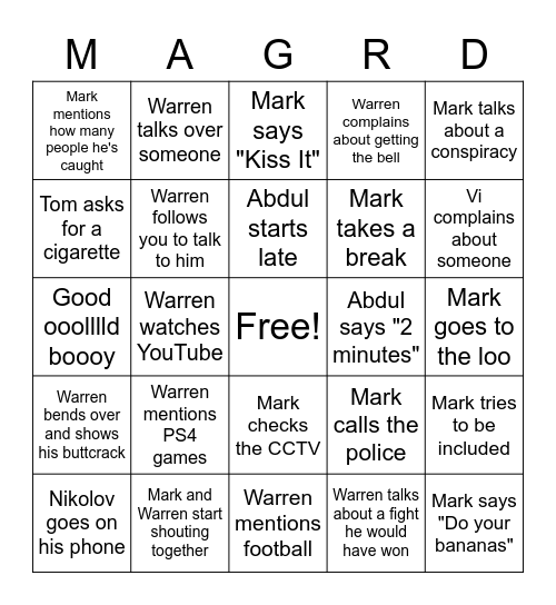 Mag road lates bingo Card