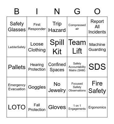 Safety Bingo - 5/20 Bingo Card