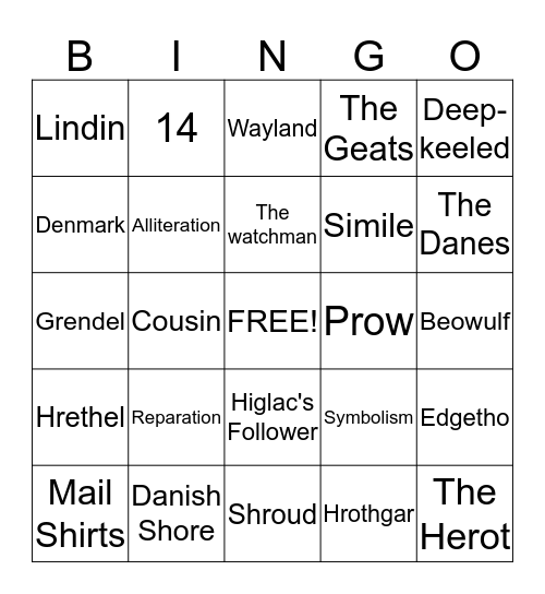 The Coming of Beowulf Bingo Card