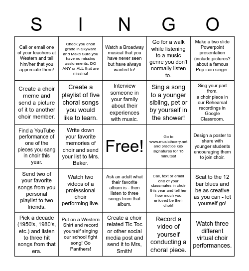 Choir Singo!!!! Bingo Card
