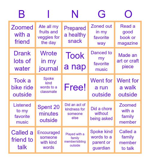 Staying Healthy BINGO! Bingo Card