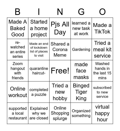 Quarentine Bingo Card