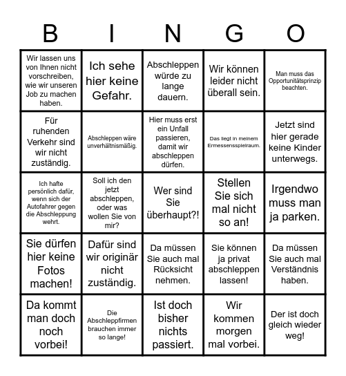 Abschleppgruppe vs. Polizei Bingo Card