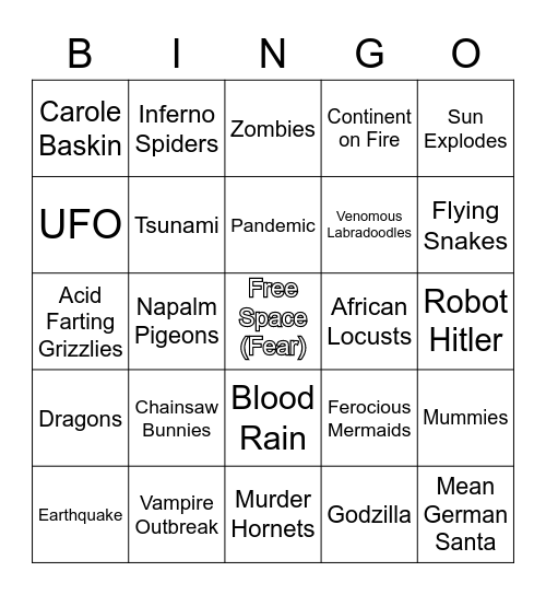 2020 Dumpster Fire Bingo Card