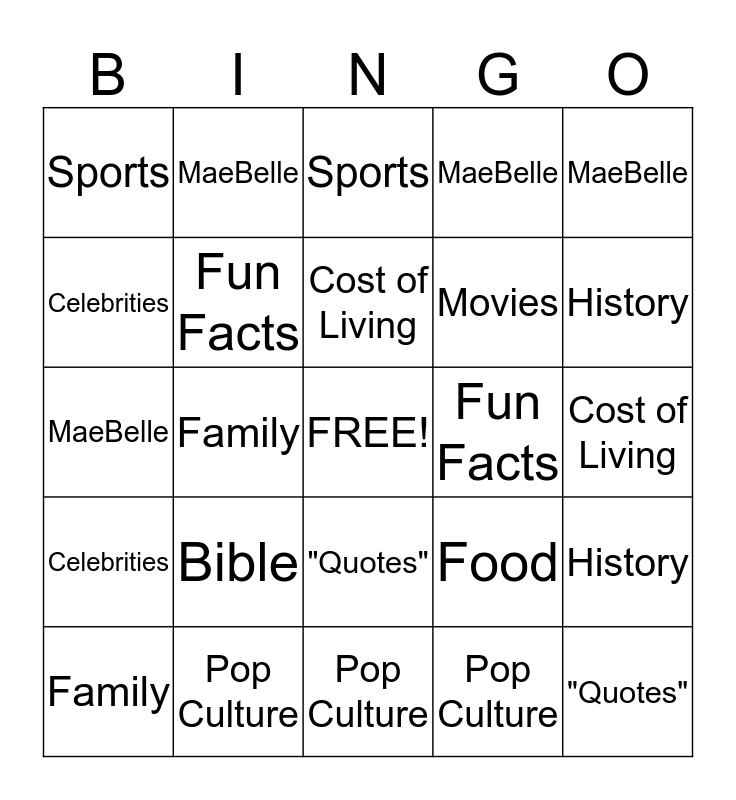 """80"" BIRTHDAY BINGO Card"