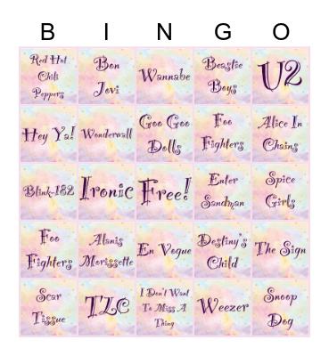 90's Music & Bands Bingo Card
