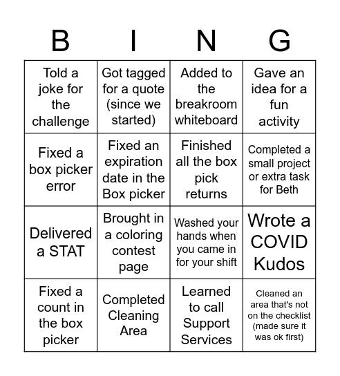 Pharmacy Tech Assistant Bingo Card
