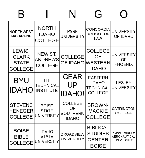 IDAHO COLLEGES BINGO Card