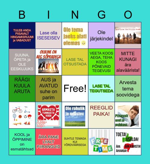 Soovitusi murdeealisega käitumiseks Bingo Card