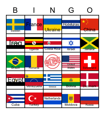 Flags Around the World Bingo Card