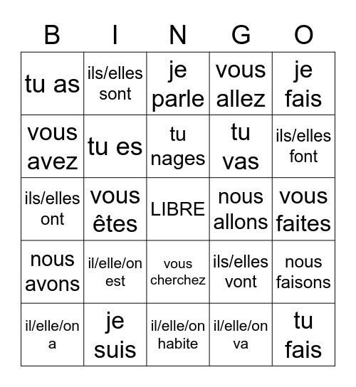 L14 - Les verbes Bingo Card