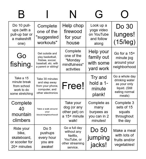 Health & Fitness BINGO!! Bingo Card