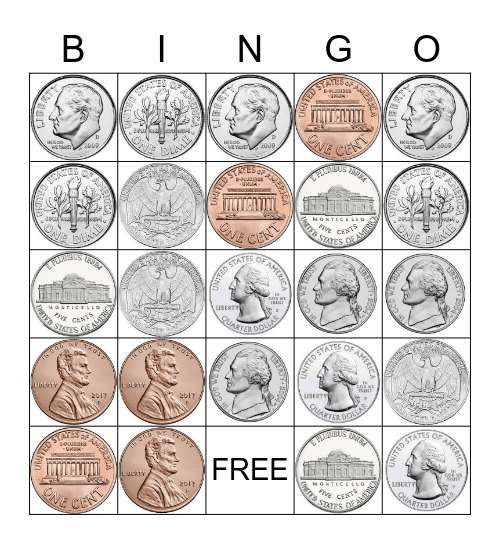 Coins Bingo Card