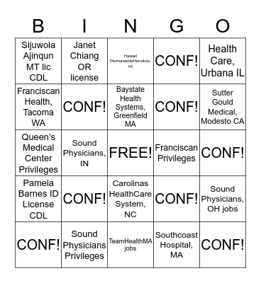 Hospital Medicine Bingo Card