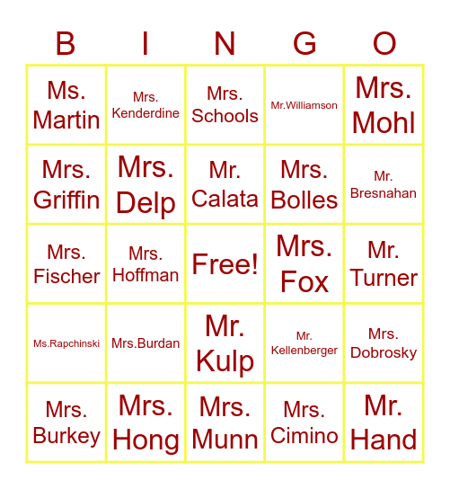 GMMS Teacher Appreciation Bingo Card