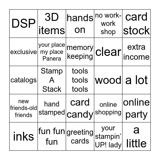 Stampin' UP! w/ Robin K Bingo Card