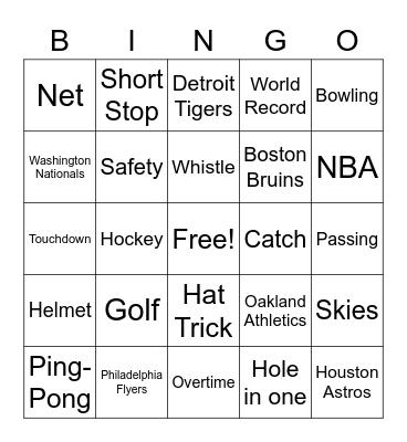 Sports Theme Bingo Card