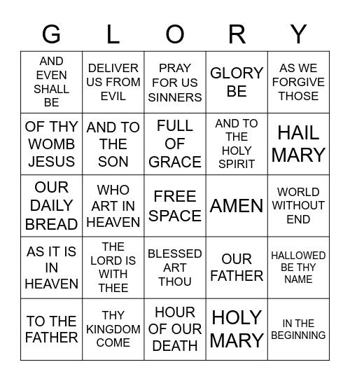 Prayer Bingo Card