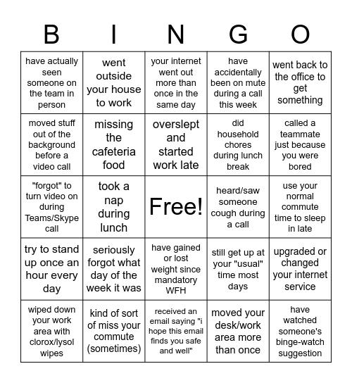 Work From Home Bingo Card